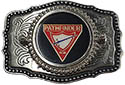 SILVER AND BLACK LEATHER PATHFINDER BUCKLE