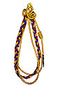"2"" Longer Red, Royal and Gold twist, 2 gold loops and strand, gold tube"