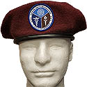 MAROON BERET WITH  PATCH APPLIED