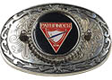 Silver & Black Pathfinder Triangle Oval Leather Belt Buckle