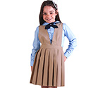 Girls V-NECK Pleated Polyester Jumper -KHAKI OR NAVY