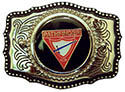 Pathfinder Triangle Leather Silver Belt Buckle