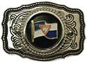 Pathfinder Flag Leather Silver Belt Buckle