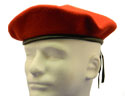 RED-Blank Beret Wool Leather Draw Cord -$12.00- or more with applied 13 patch options