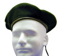Forest Green-Blank Beret Wool Leather Draw Cord-$12.00 or more with applied 13 patch options