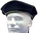 NAVY-Blank Beret Wool Leather Draw Cord-$12.00 or more with applied 13 patch options