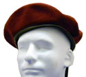 MAROON-BURGUNDY Blank Wool Beret Leather Draw Cord-$12.00 & UP - BLANK or with 13 applied patch options