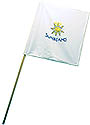 White Guidon Flag with Sunbeam Logo