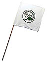 White Guidon Flag with Round Eager Beaver Green Logo