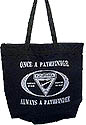 Large Zip top black totebag - OPAP-silver metalic