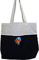 Large Totebag open top - wh/blk - Nad embroidered logo