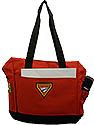 Top zippered totebag / Computer red/ black bag - Pf triangle embroidered logo