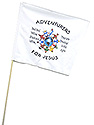 White Guidon Flag with Adventurers for Jesus Logo