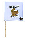 White Mini Flag - Brown Eeager Beaver Logo
