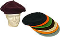 FASHION COLORED WOOL BERETS -1 SIZE FITS ALL-Blank or with 13 applied patch options $12& UP