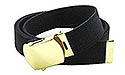 CLASS A BLACK WEB BELT / PLAIN GOLD BUCKLE